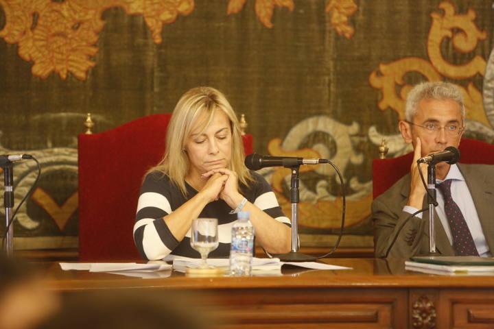 La alcaldesa de Alicante, Sonia Castedo, durante la celebración del pleno del pasado lunes en el que se votó su relevo al frente del Consistorio