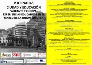 Programa de las V Jornadas Ciudad y Educación que se inician el lunes 11 de enero. PINCHAR SOBRE LA IMAGEN PARA VER LA PROGRAMACIÓN COMPLETA
