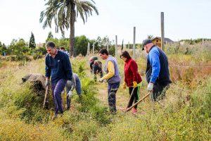 Miembros de AFEMA trabajando en el huerto ecológico, cuyos productos venden semanalmente en el mercadiilo de Muchavista y cuya iniciativa supone otra vía para dar empleo al colectivo
