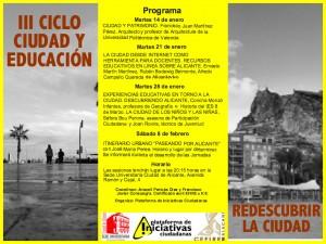 Cartel del III Ciclo Ciudad y Educación