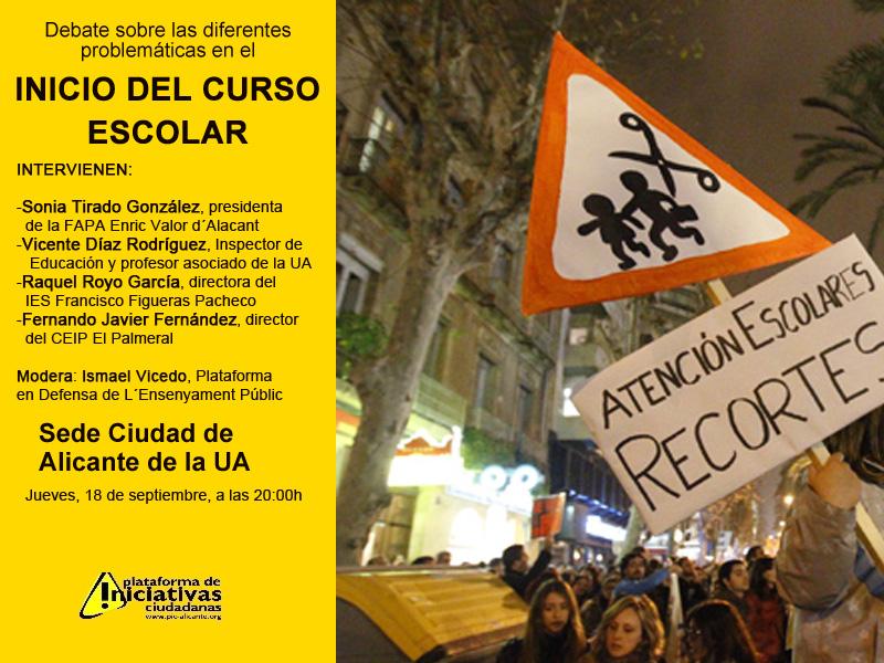 El debate sobre el inicio de curso escolar tiene lugar este jueves en la Sede de la UA de Alicante