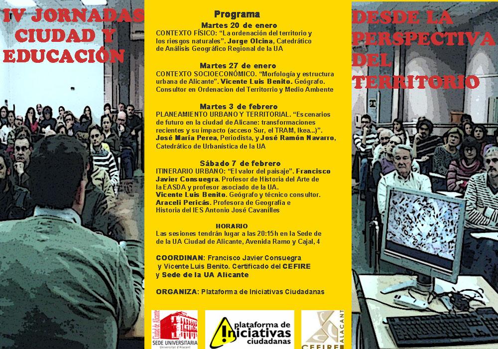 Cartel con la programación de las actividades de las IV Jornadas Ciudad y Educación