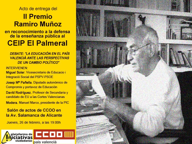 Cartel del acto de entrega del II Premio Ramiro Muñoz que la PIC y CCOO entregan esta tarde