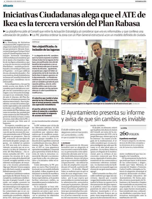 Página del diario Información donde aparece publicada la alegación de la PIC sobre Ikea