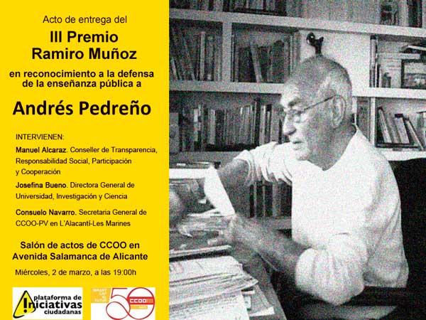 El acto de entrega del Premio Ramiro Muñoz tendrá lugar el miércoles 2 de marzo